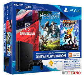 Игровая приставка Sony PlayStation 4 Slim Driveclub+Horizon ZeroDawn+Ratchet&Clank